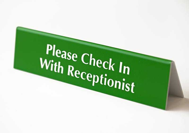 check in with receptionist sign
